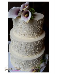 Scroll cala lily cake