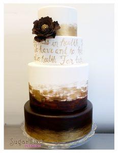 brown gold vows GP flower cake