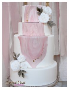 Pink Marble Patch gold leaf wafer flower cake
