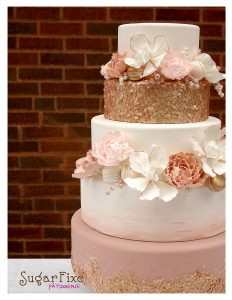 Rose gold sequin wedding cake