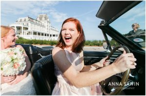Fun Wedding in Watch Hill, RI - Friend Driving