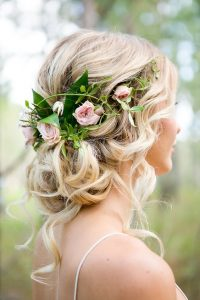 Wedding hair blonde flower crown
