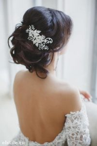 Romantic wedding hair brunette