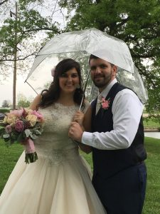 wedding in Cincinnati - Bethany and Matt in the rain