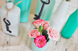 wedding DIYs painted centerpieces - wedding DIY with instructions
